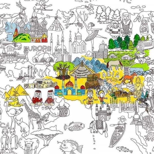 Карта Світу Постер розфарбування для підлоги 114 на 78 см