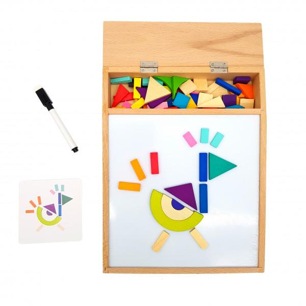Магнітна доска дерев'яна з магнітними деталями та карточками